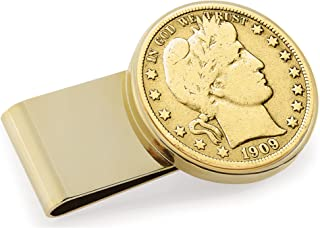 product image for Gold-Layered Silver Barber Half Dollar Stainless Steel Coin Money Clip