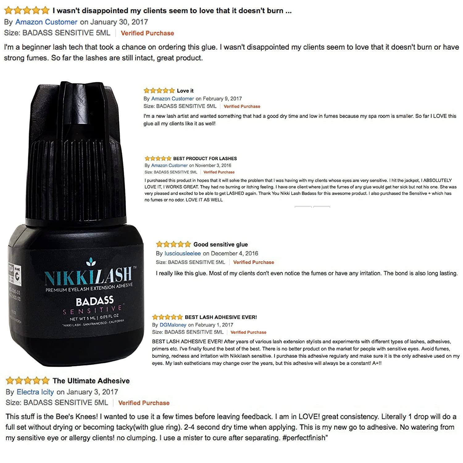 3afea5326af Amazon.com : NIKKILASH BADASS SENSITIVE Eyelash Extension Glue with  Latex-Free Low-Fume Low-Odor Less-Irritation | Formulated to Minimize  Allergy Reactions ...