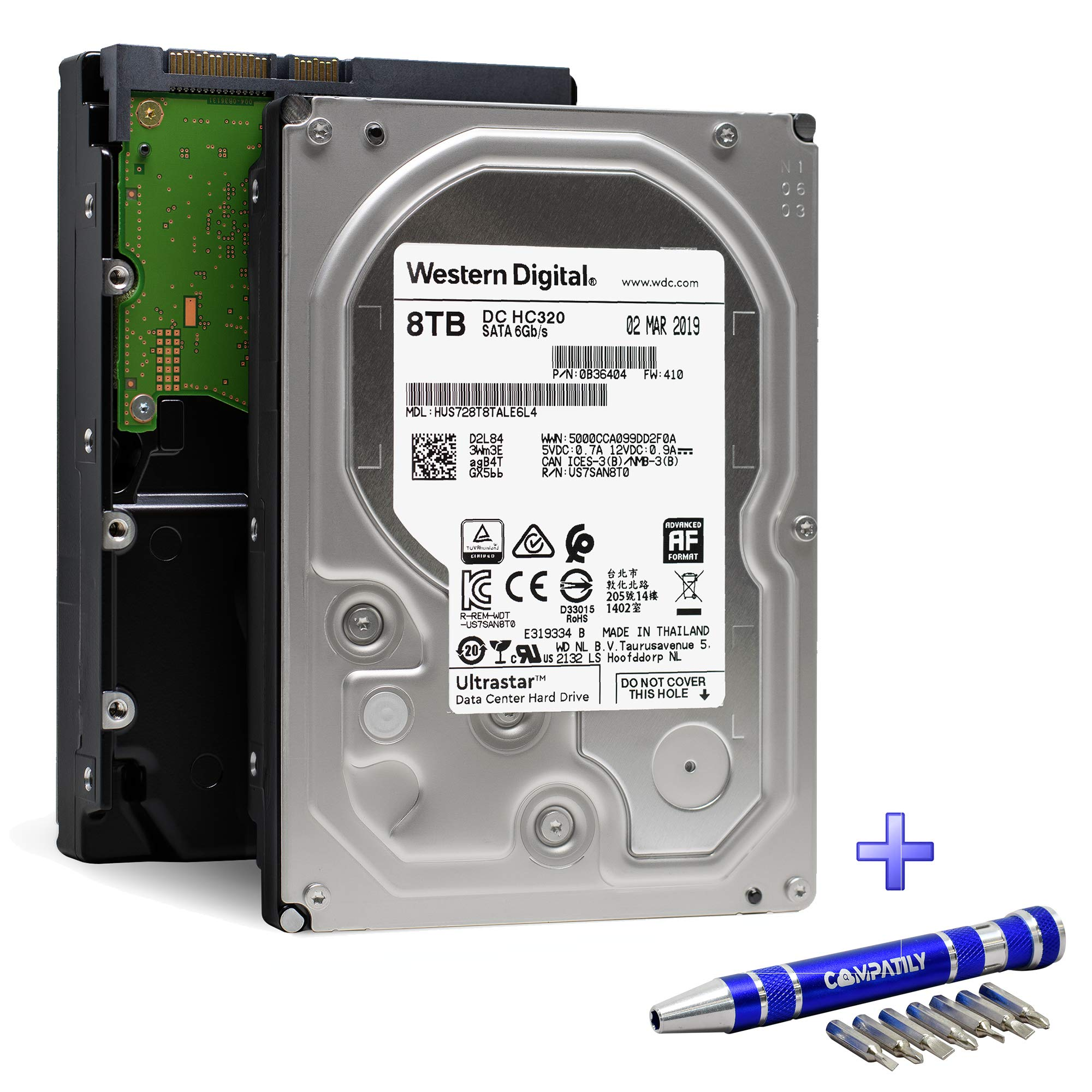 Western Digital Ultrastar DC HC320 HDD 8TB 7200RPM SATA 6Gb/s 256MB Cache 3.5-Inch | HUS728T8TALE6L4 0B36404 | 512e Secure Erase Enterprise Hard Drive Bundle with COMPATILY Aluminum Screw Driver Kit
