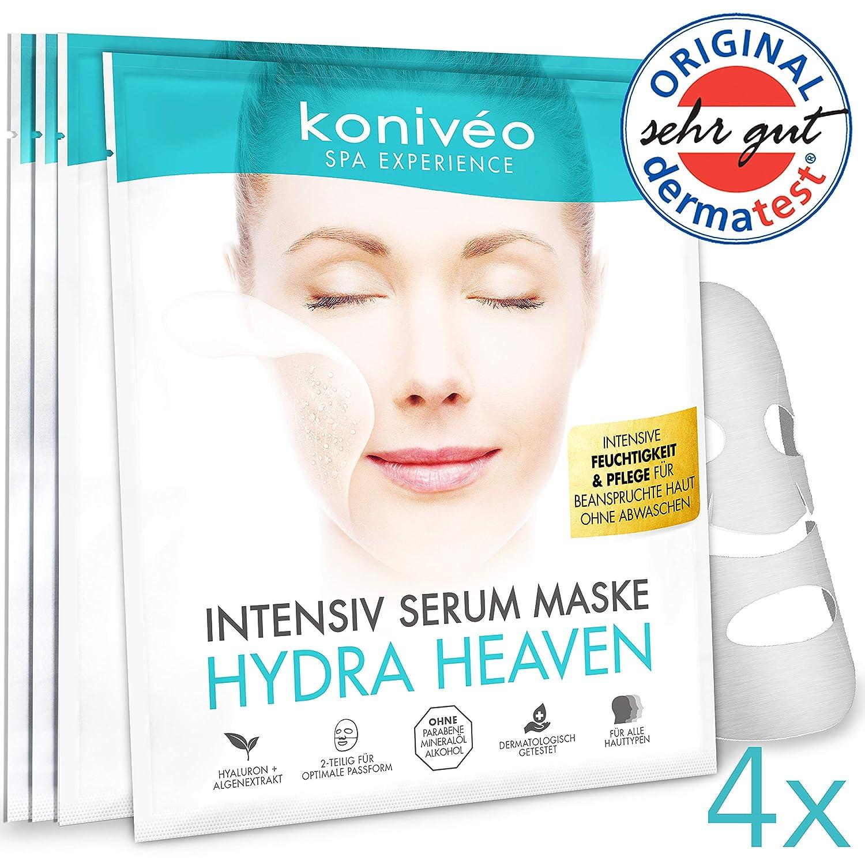 Premium Tuchmasken mit Hyaluron - Hydrogel Gesicht Maske für strahlend-schöne Haut. Intensiv Serum Gesichtsmaske Tuchmaske Vliesmaske Sheet Mask ohne Parabene. Auch für empfindliche Haut. Derma Test Note SEHR GUT / 1 er Set KONIVÉO