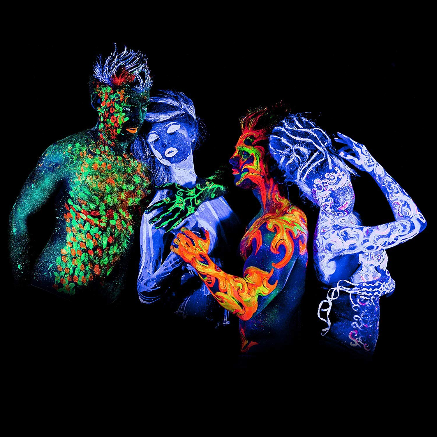 'XXL Set' 24 Cans of Neon Body Paints by neon nights - 16.5 fl oz of Luminescent Body Paints - Long-Lasting Neon Body Paints for Blacklights, UV Lights - Fluorescent Body Paints for Adults by neon nights (Image #4)