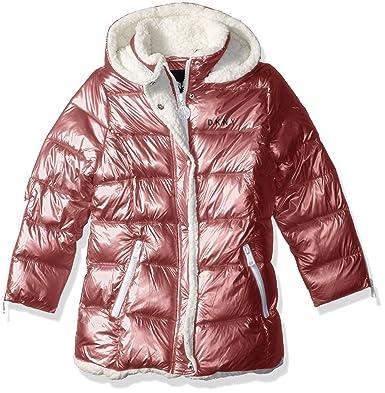 3fa35c740 DKNY Girls' Big Bubble Jacket with Zipper Cuffs, Blush Metallic, 7/8