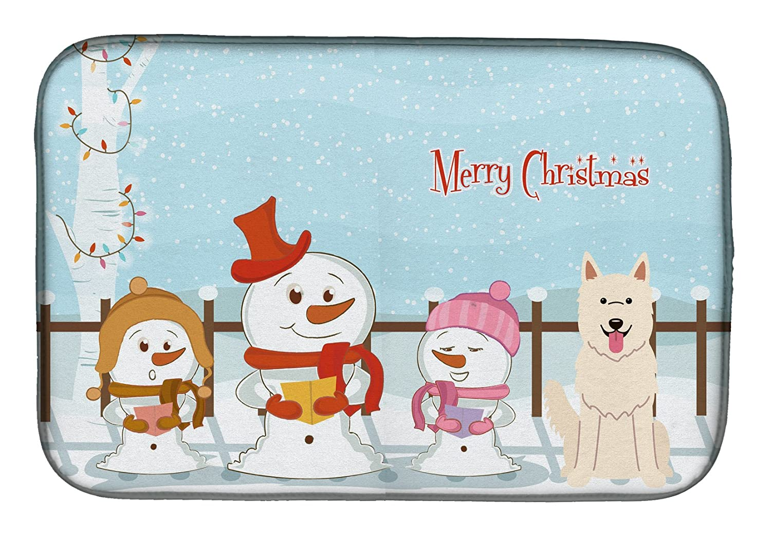 Caroline 's Treasures bb2376ddm Merry Christmas CarolersホワイトGerman Shepherdディッシュ乾燥マット、14 x 21、マルチカラー   B07C996D6M