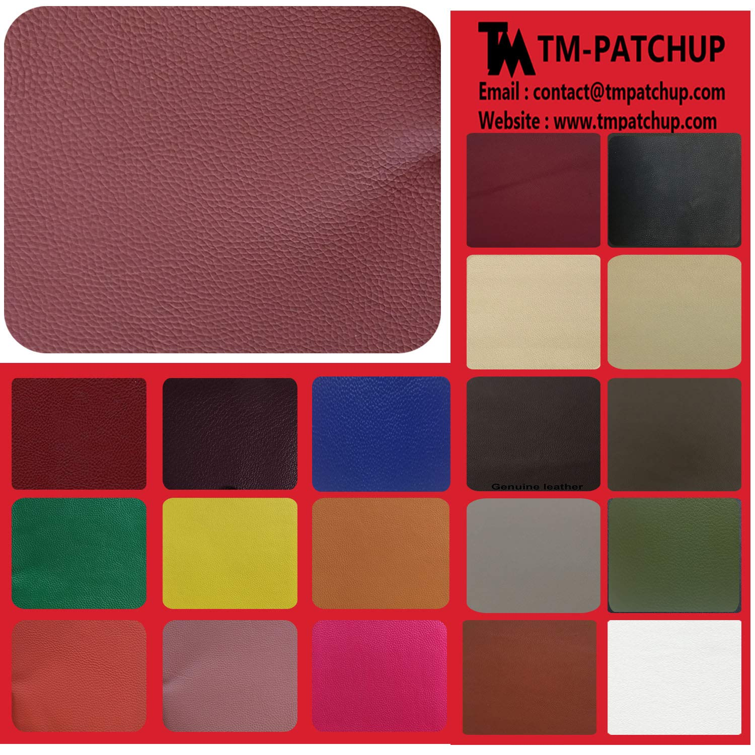 TMpatchup Genuine Leather and Vinyl Repair Patches Kit - Grain Self Adhesive Leather to Repair Furniture, Couch, Sofa, Jacket - Multiple Colors and Sizes Available (Burgundy, 4'' x 8'') 4'' x 8'') TMGroup