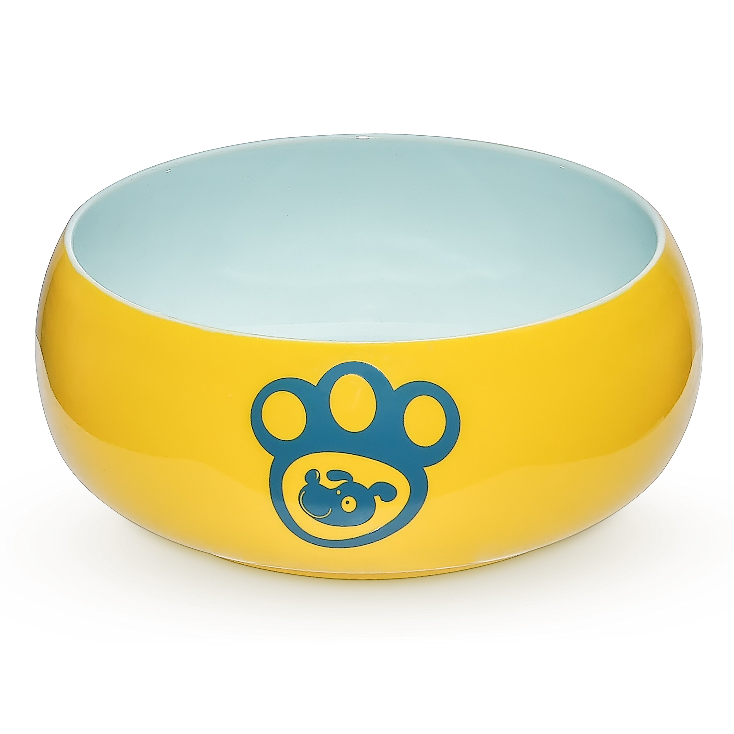 YHY Porcelain Dog Bowls for Food and Water, 55 oz Pet Feeder Bowl with Delicate Paw Printed, Suitable for Medium/Large Size Dog Dish, Yellow …