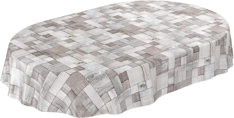Patchwork Taille au choix Hellgrau Patchwork Karo Toile cir/ée /à carreaux Nappe lavable Rund 100cm Toile cir/ée gris clair