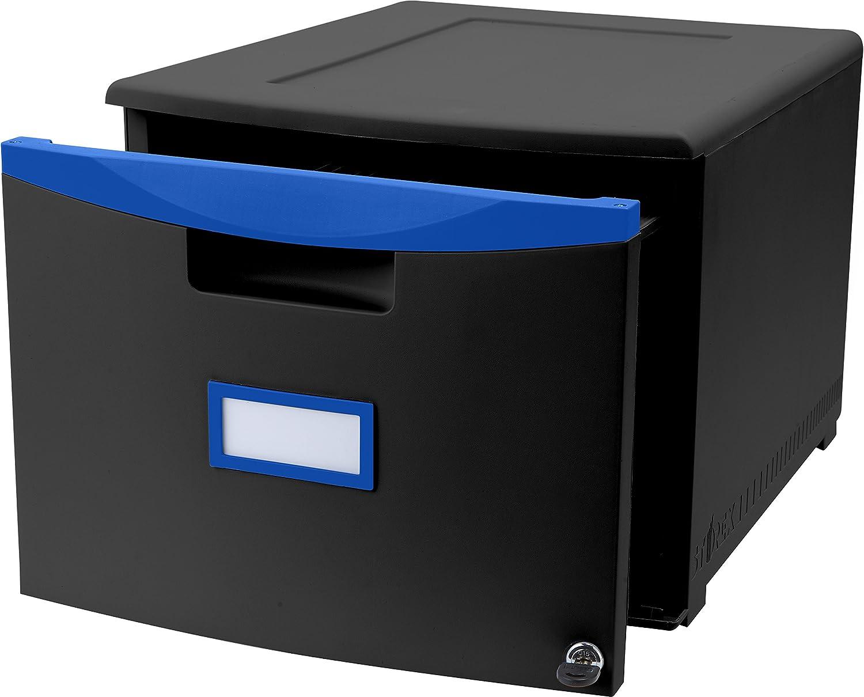 Storex Plastic 1-Drawer Mobile File Cabinet, Letter/Legal, Black/Blue