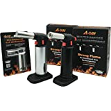 A-ONE GAS TOOL Professional Culinary Blow Torch-Micro Butane Torch-Creme Brulee Torch-Refillable Kitchen Food Torch-Multipurpose Cooking Torch-DIY Micro Torch-2 Pack With 1 Free Torch Lighter