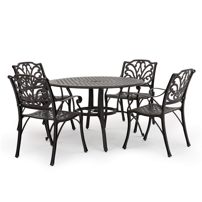 Amazon com gdf studio calandra 5 piece cast aluminum outdoor circular table dining set perfect for patio in bronze garden outdoor