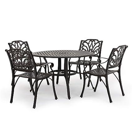 Brilliant 300210 Calandra Patio Furniture Cast Aluminum Circular Table Dining Set Download Free Architecture Designs Scobabritishbridgeorg