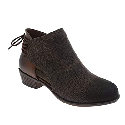 MVE Shoes Women's Ankle Booties - Soda Perforated Cut Out Stacked Block Heel - Comfy Booties for All Season | Ankle & Bootie