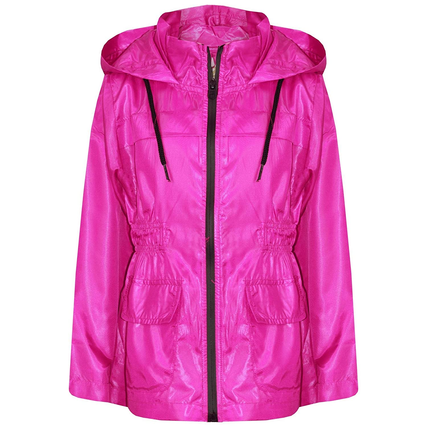 A2Z 4 Kids® Kids Girls Boys Raincoats Jackets Designer's Pink Light Weight Waterproof Kagool Hooded Cagoule Rain Mac Coats New Age 5 6 7 8 9 10 11 12 13 Years