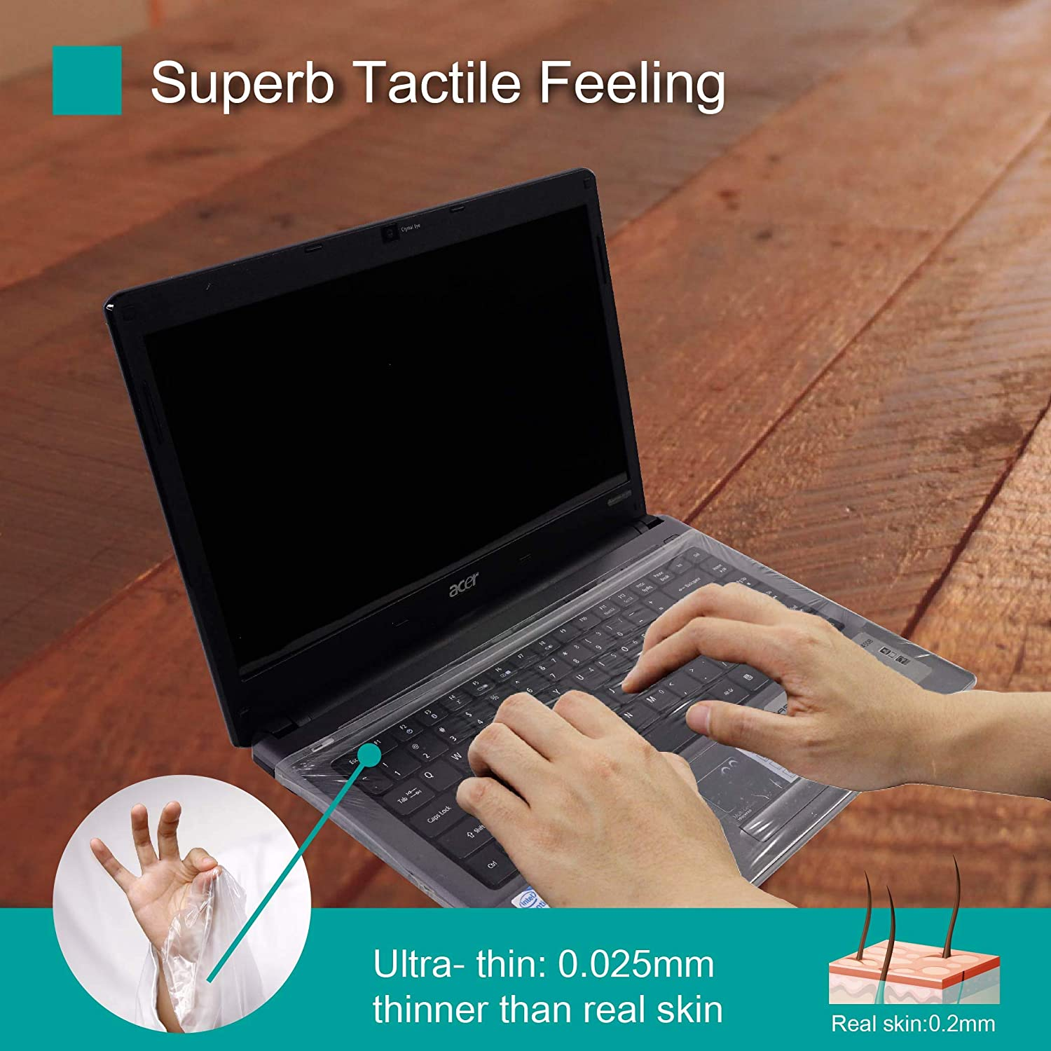 3 Pack Fully Covered Flat Style Easily Sanitized Universal 0.025mm Wipeable Superb Tactile Feeling Waterproof Anti-Dust Keyboard Cap Cover for Laptop 15.6 Inch Hospital//Dentist Use