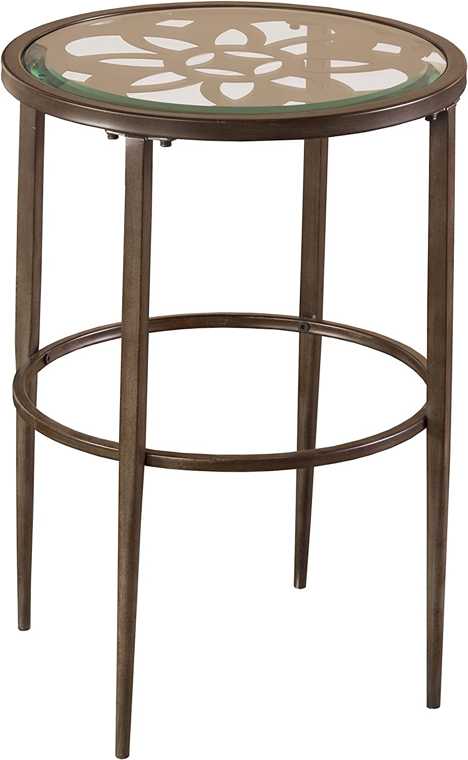 """Hillsdale 5497-880 Marsala End Table, 17.25"""", Gray Finish with Rubbed Brown Accents"""