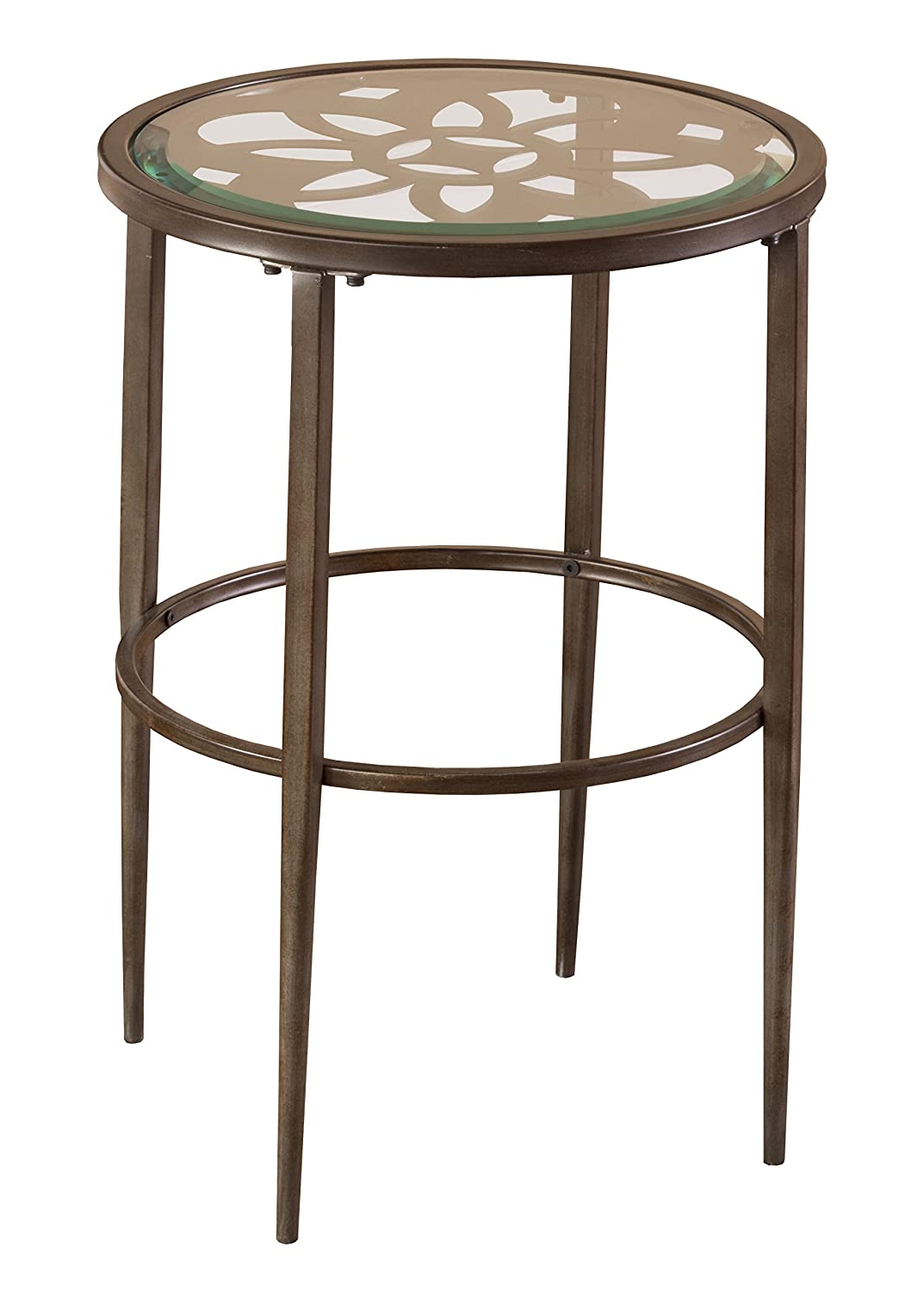 Hillsdale 5497-880 Marsala End Table, 17.25', Gray Finish with Rubbed Brown Accents 17.25
