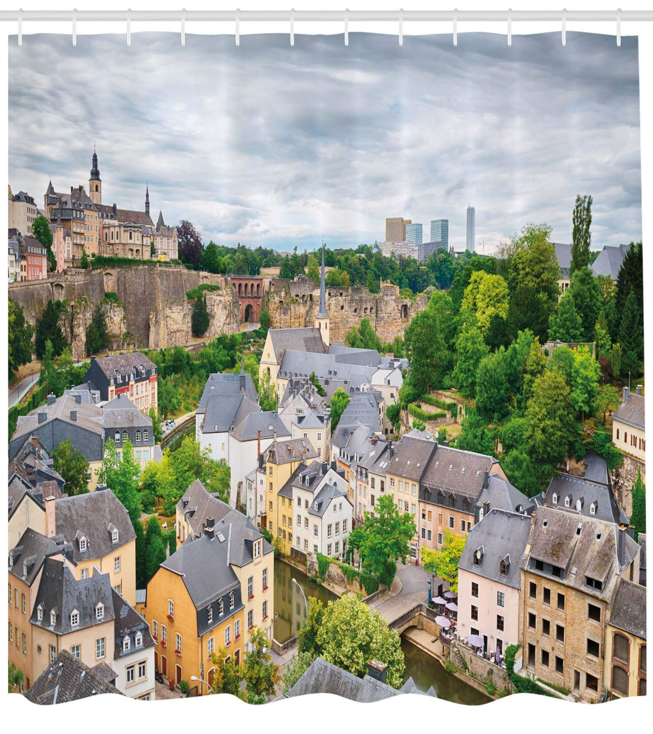 Ambesonne Landscape Shower Curtain, View of Old Town Area Luxembourg City Touristic Destination European Scenic Photo, Fabric Bathroom Decor Set with Hooks, 84 Inches Extra Long, Yellow Gray