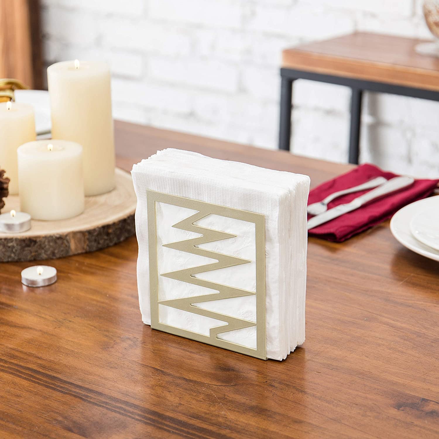 MyGift Modern Holiday Tree Design Brass-Tone Metal Napkin Holder