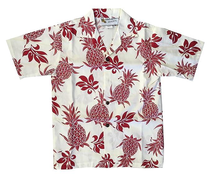 282650ab2 Alohawears Clothing Company Boy's Pineapple Hawaiian Cruise Luau Aloha Shirt  (6, White/RED