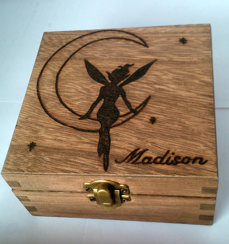 Personalised Wood Jewellery Memory Box 12cm Fairy On The Moon Keepsake Mum Nan Gift Love Rustic Natural Wood Girl Pixie Christmas Gift