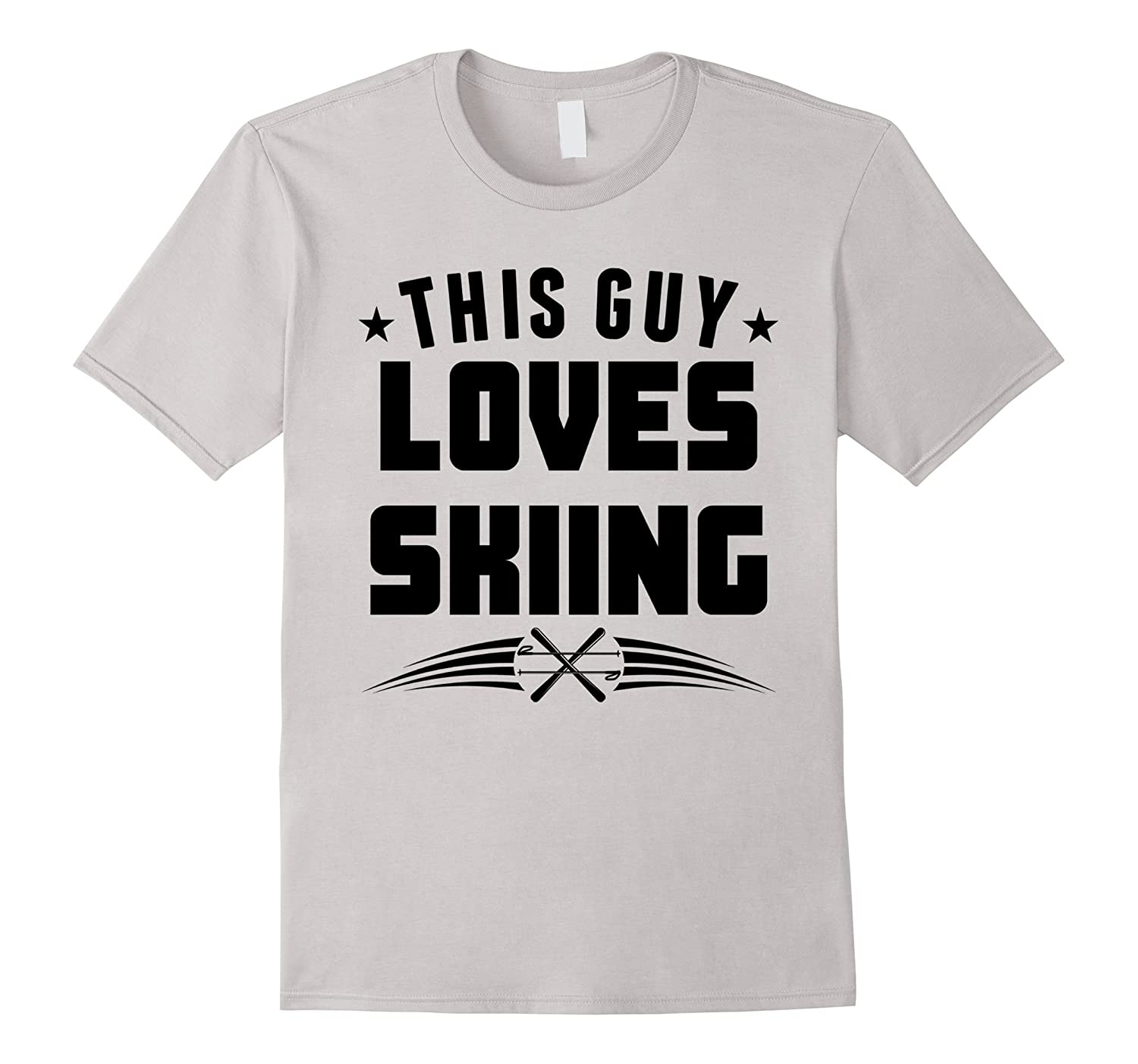 This Guy Loves Skiing Funny Skier T-Shirt-PL
