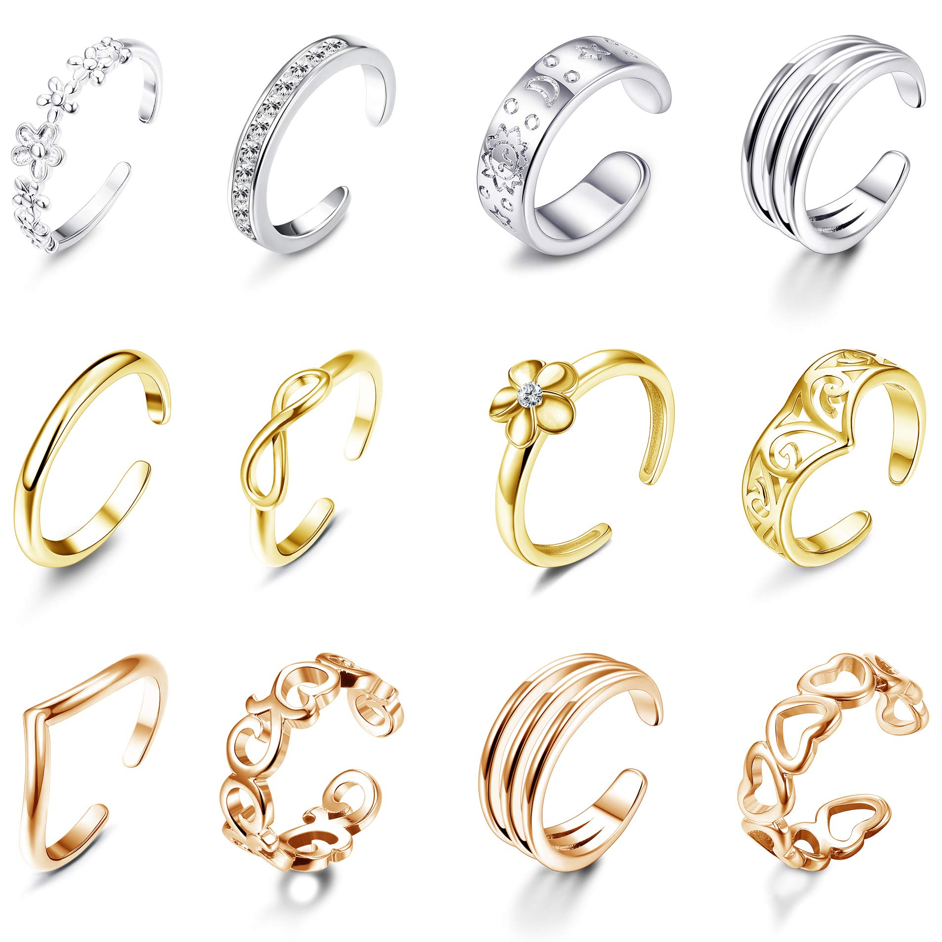 Jstyle 12Pcs Adjustable Toe Rings for Women Girls Various Types Band Open Toe Ring Set Women Summer Beach Jewelry by Jstyle