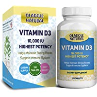 Oladole Natural Vitamin D3 10,000 iu High Potency, for Healthy Muscle Function, Bone Health, and Immune Support Non-GMO…