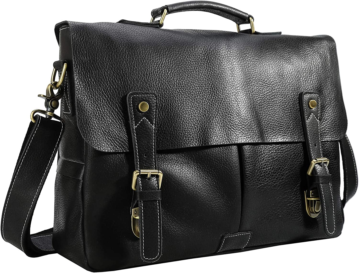 Polare 15.7'' Real Leather Messenger Work Bag Business Laptop Briefcase Casual Satchel