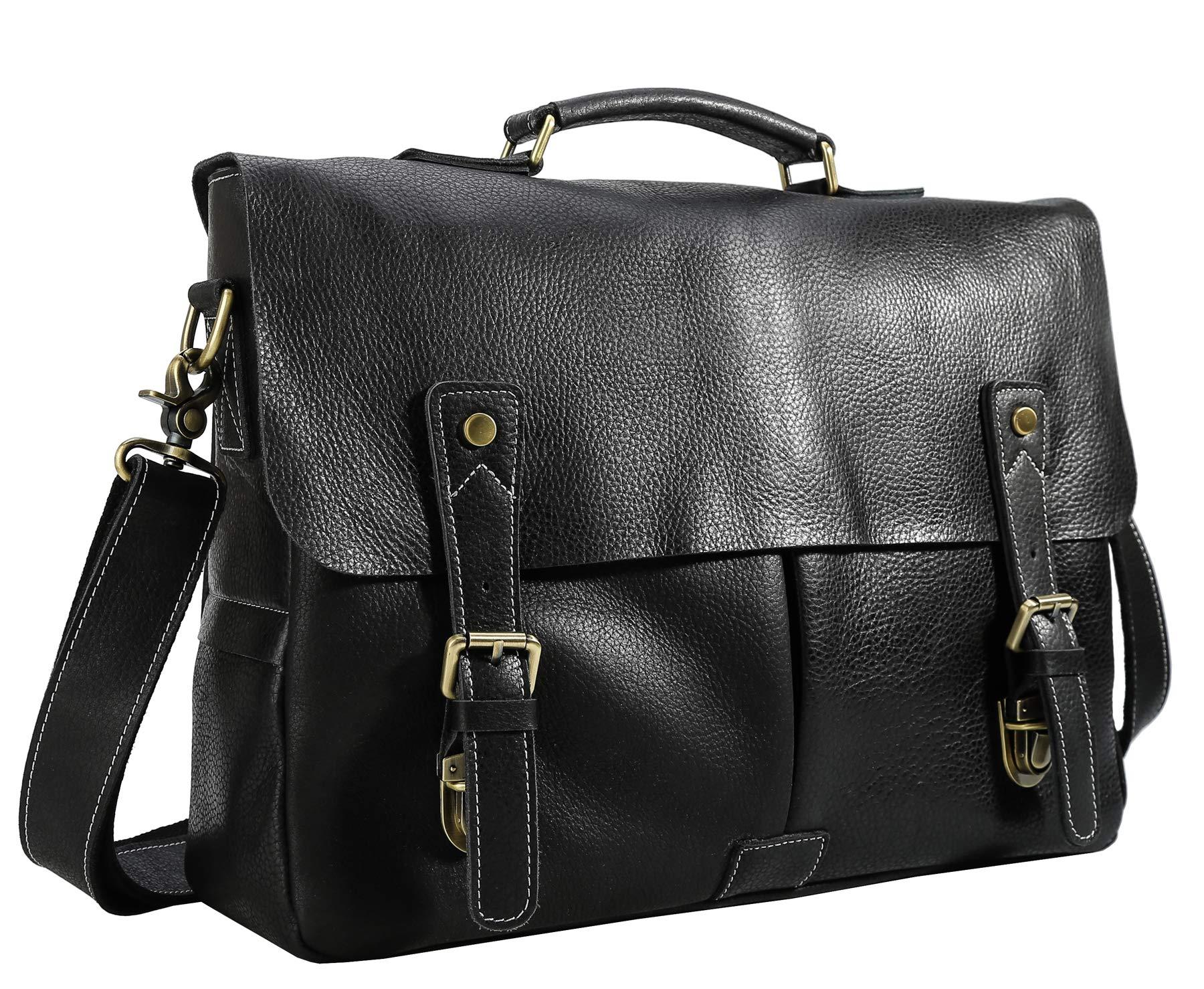 Polare 16'' Full Grain Leather Messenger Shoulder Bag Business Laptop Satchel