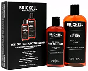 Brickell Men's Daily Essential Face Care Routine I, Gel Facial Cleanser Wash and Face Moisturizer Lotion, Natural and Organic, Scented