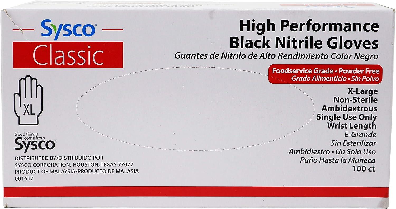 Sysco Classic Black Nitrile Extra Large Gloves, Box of 100