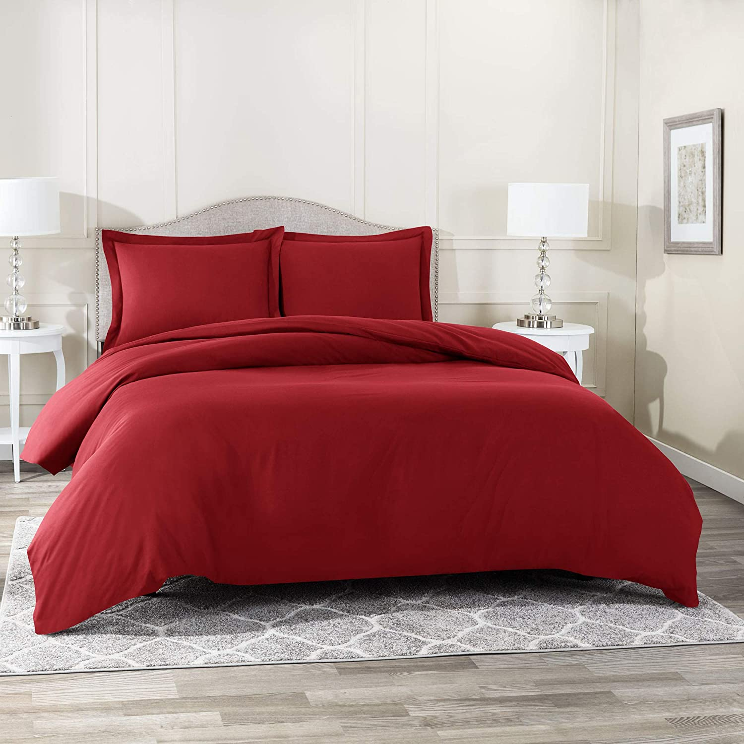 """Nestl Bedding Duvet Cover 3 Piece Set – Ultra Soft Double Brushed Microfiber Hotel Collection – Comforter Cover with Button Closure and 2 Pillow Shams, Burgundy - Queen 90""""x90"""""""