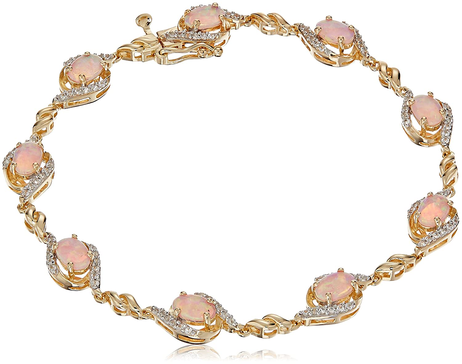 """18k Yellow Gold Over Sterling Silver Created Opal and Created White Sapphire Bracelet, 7.25"""""""
