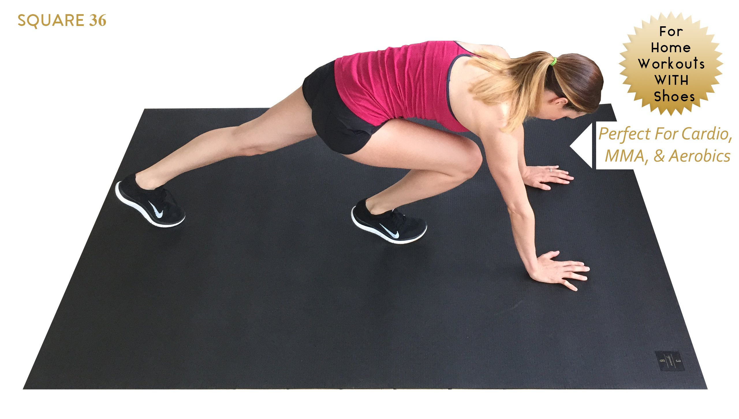 Large Exercise Mat 78'' Long x 48'' Wide (6.5'x4') x 7mm Thick. Includes A Storage Bag and Storage Straps. Perfect For Cardio, Plyometric, MMA, & Aerobic Workouts. Square36 by Square36 (Image #2)