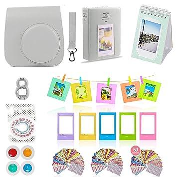 Gift Set Selfie Lens 2 Albums Filter 60 Stickers Creative Frames Fuji 11 PC Smokey White Kit Includes: Instax Case Fujifilm Instax Mini 9 Camera Accessories Bundle Strap Hanging