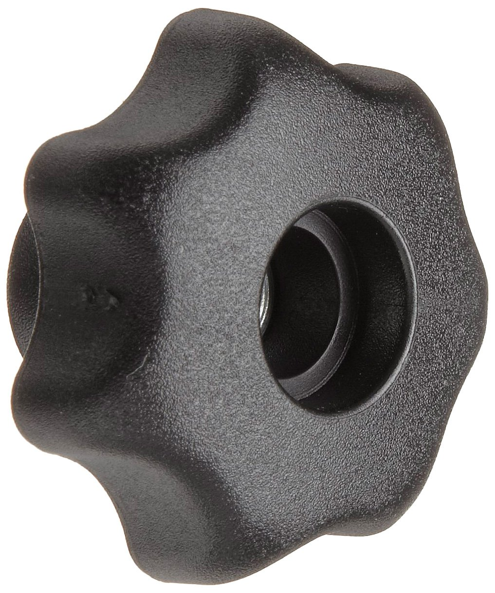 Morton Glass Fiber Reinforced Polymide Multiple Lobe Knob, Fluted Rim, Threaded Hole, M10 Thread Size x 15mm Thread Length, 50mm Diameter (Pack of 2)
