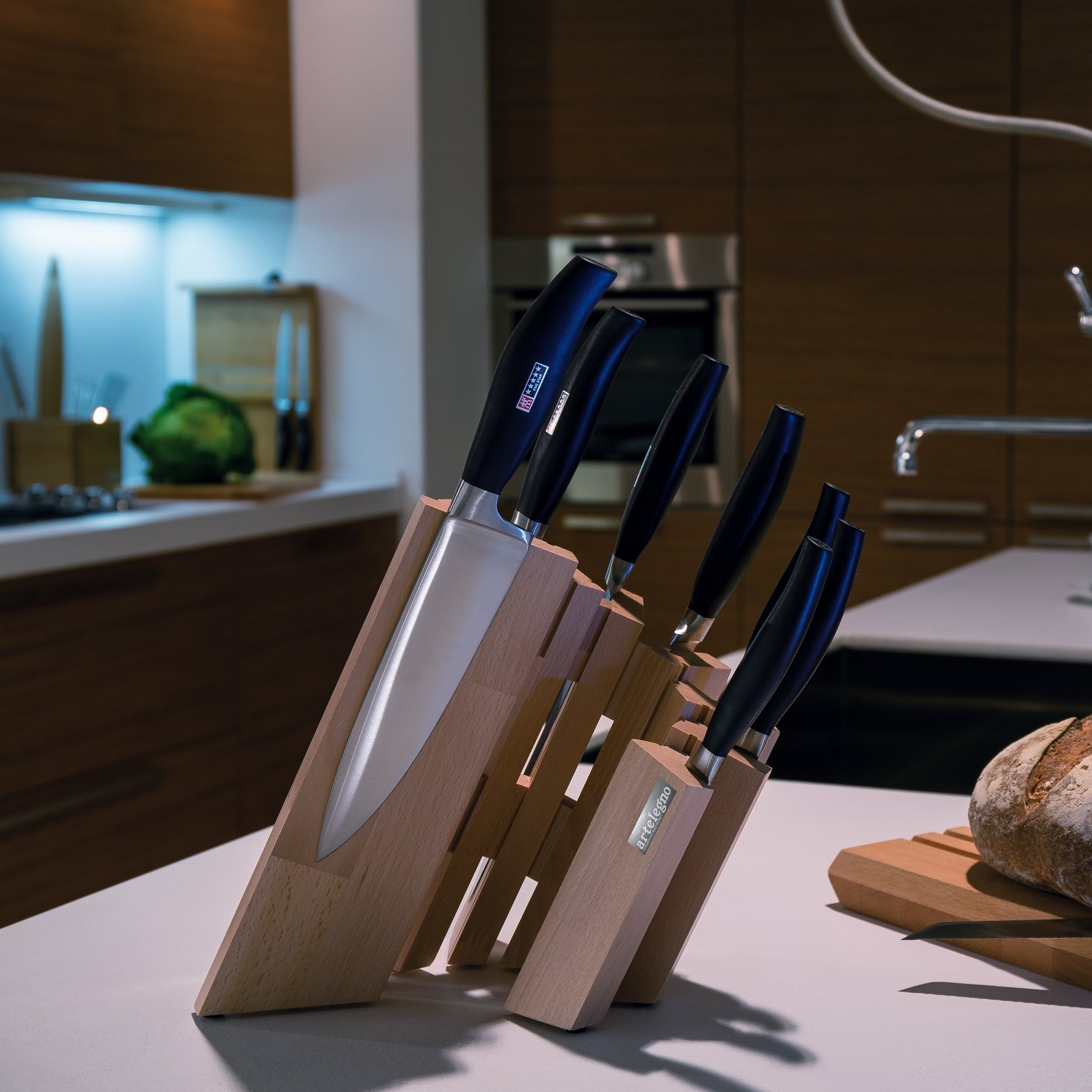 Artelegno Magnetic Knife Block Solid Beech Wood 8 Panel, Luxurious Italian Pisa Collection by Master Craftsmen Displays High-End Knives Elegantly, Eco-friendly, Natural Finish, Small by Arte Legno (Image #3)