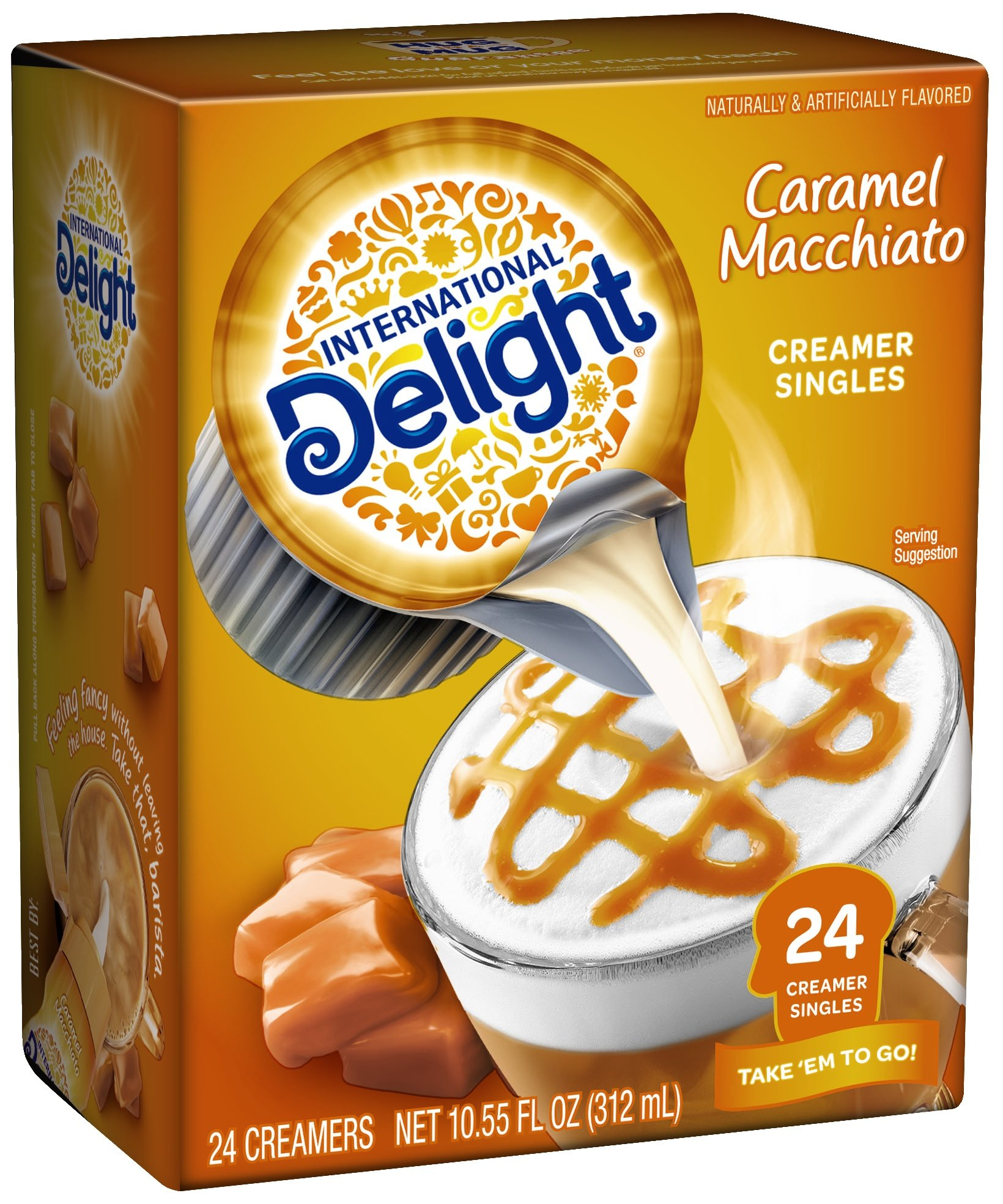 International Delight, Caramel Macchiato, Single-Serve Coffee Creamers, 24 Count (Pack of 6), Shelf Stable Non-Dairy Flavored Coffee Creamer, Great for Home Use, Offices, Parties or Group Events by International Delight