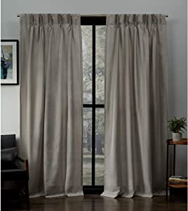 "Exclusive Home Curtains Loha Linen Pinch Pleat Curtain Panel Pair, 96"" Length, Beige"