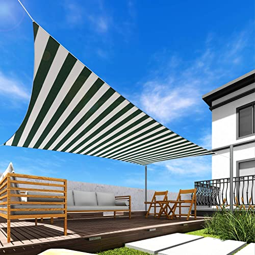 Sun Shade Sail Wide Green/White Stripes 23' x 23' Square Patio Permeable Fabric UV Block Perfect