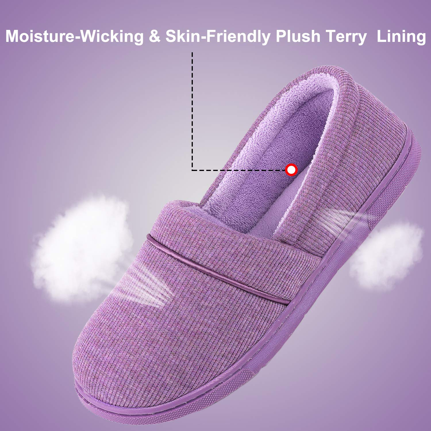 ULTRAIDEAS Womens Comfy Memory Foam Cotton Knit Slippers Ladies Plush Terry Lining Loafer Lightweight House Shoes with Indoor Outdoor Anti-Skid Rubber Sole