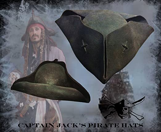 Captain Jack Sparrow Movie Version High-Quality Real Pirate Hat for Cosplay, Re-enactment, LARP or Role Playing Games by Captain Jack's Pirate Hat