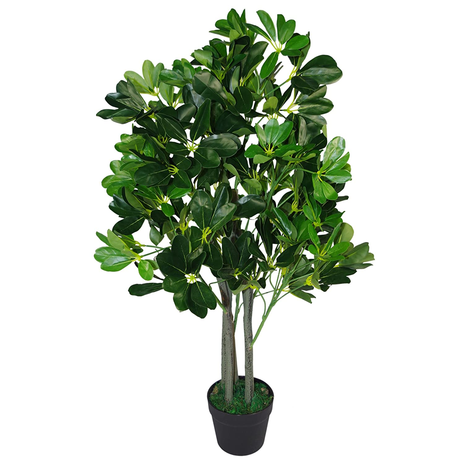 Extra Large Artificiel Evergreen Ficus Plant en Plastique Noir Pot 95cm Umbrella Tree Vert Fonc/é