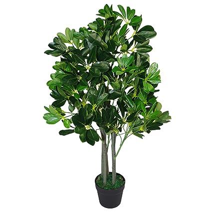 Leaf 95cm Árbol De Paraguas Verde Oscuro - Planta Ficus Extra Grande Evergreen Artificial - Negro