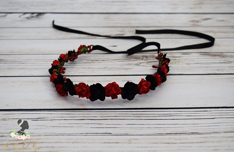 Amazon Red Black Flower Crown Boho Flower Crown Halloween