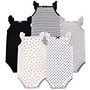 Hudson Baby Baby Sleeveless Bodysuits, Basic Black/Gold 5-Pack, 0-3 Months (3M)