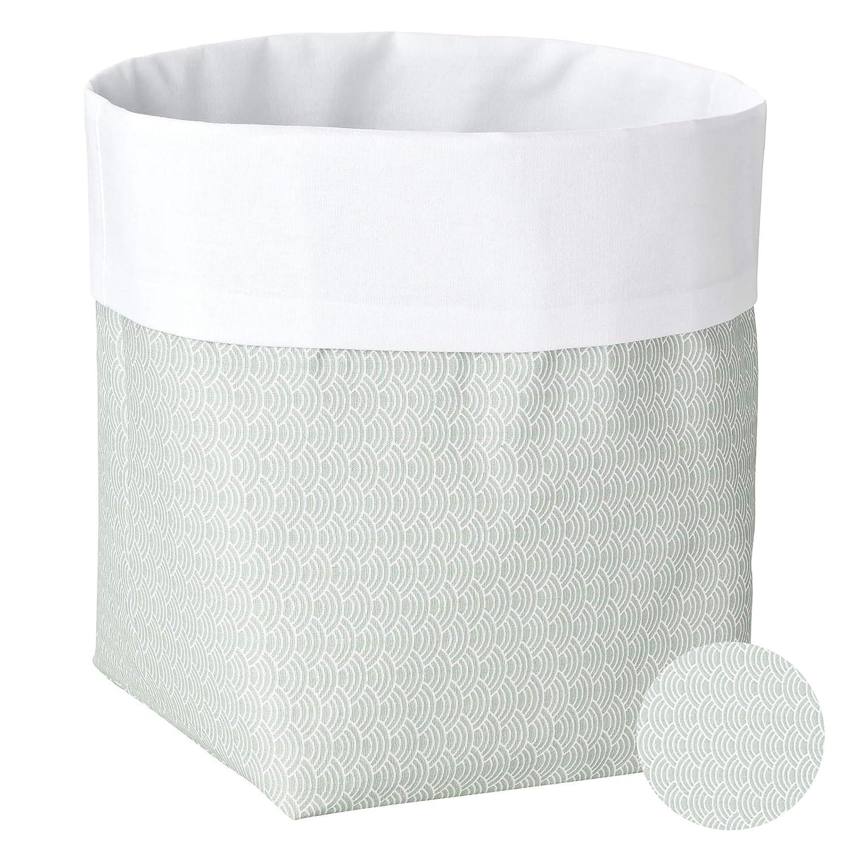 als Wickeltisch Organizer Wellen Schilfgr/ün Stoffbox f/ürs Bad Sugarapple Utensilo Stoff Aufbewahrungsbox aus Baumwolle 19 x 13,5 x 13,5 cm