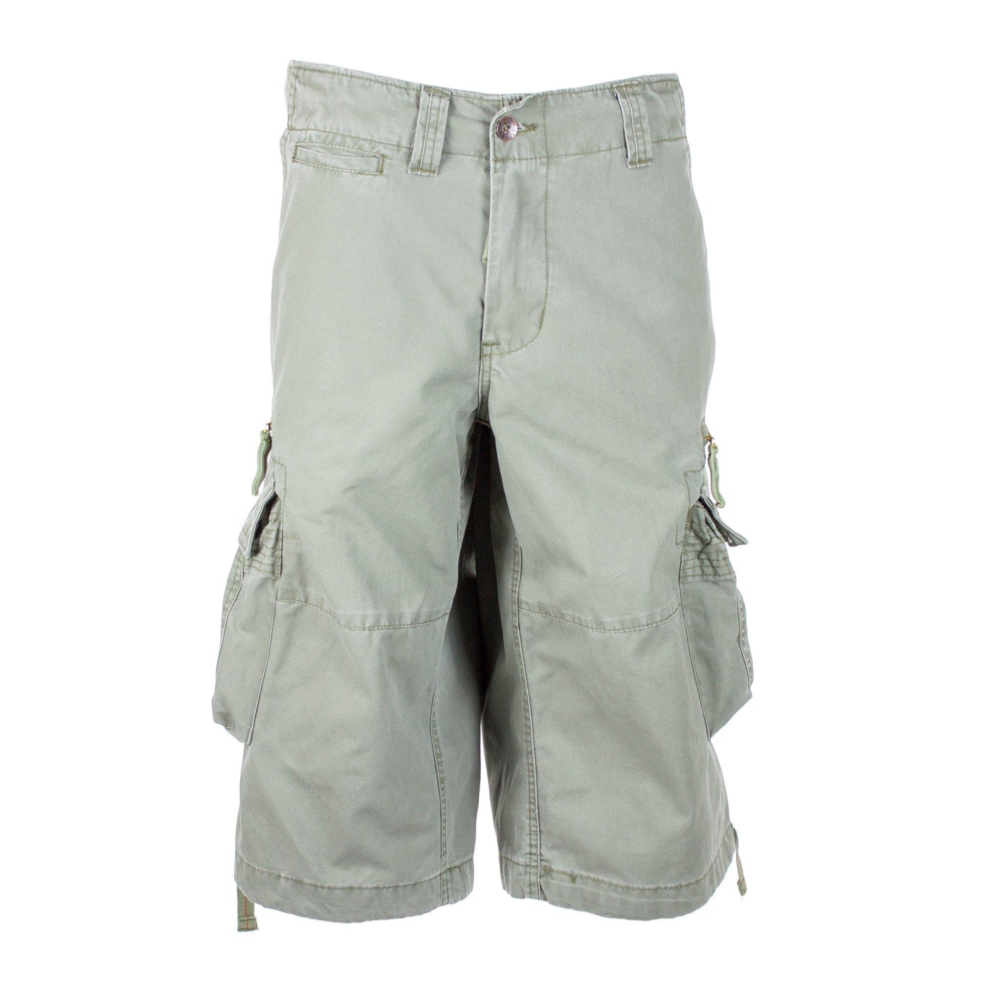 Molecule Men's Dockside Cargo Shorts - 100% Cotton Backpackers Bermudas Combats   USA 31''/S (Tag S) Field Green