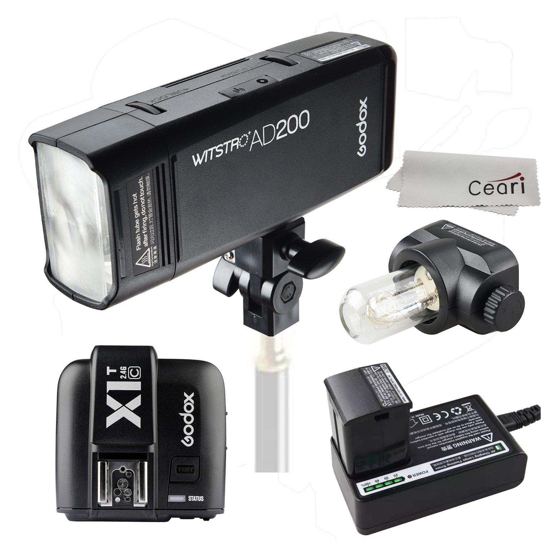 Godox ad200 200 Ws 2.4 G TTLスピードライト1 / 8000s HSS 2900 mAhバッテリーwith x1 C-tワイヤレス送信機for Canon DSLRカメラマイクロファイバー布で   B06WWKDYT7
