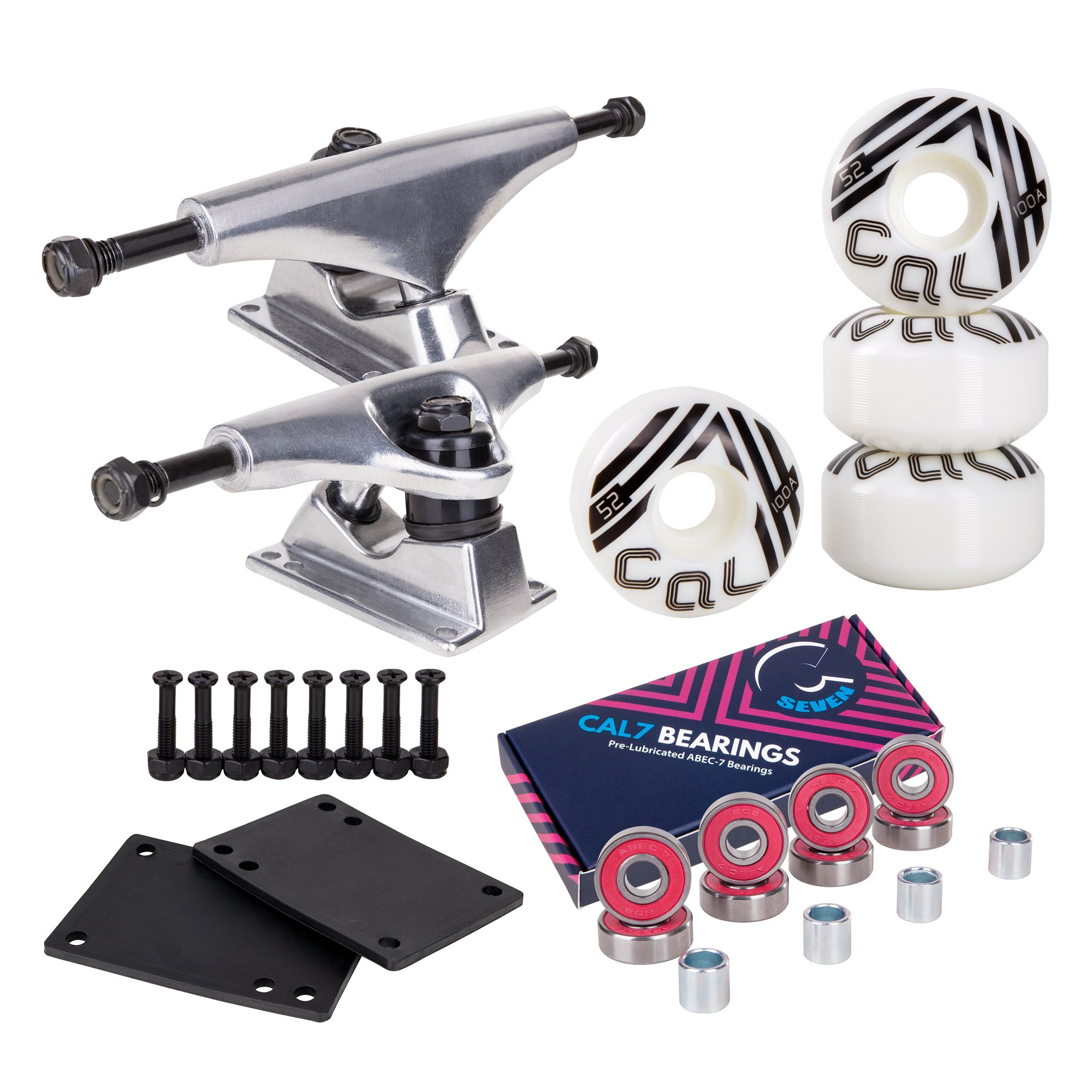 Cal 7 Skateboard Package | Complete Combo Set with 139 Millimeter / 5.25 Inch Aluminum Trucks, 52mm 99A Wheels & Bearings (Silver Truck + White Retro Wheels) by Cal 7