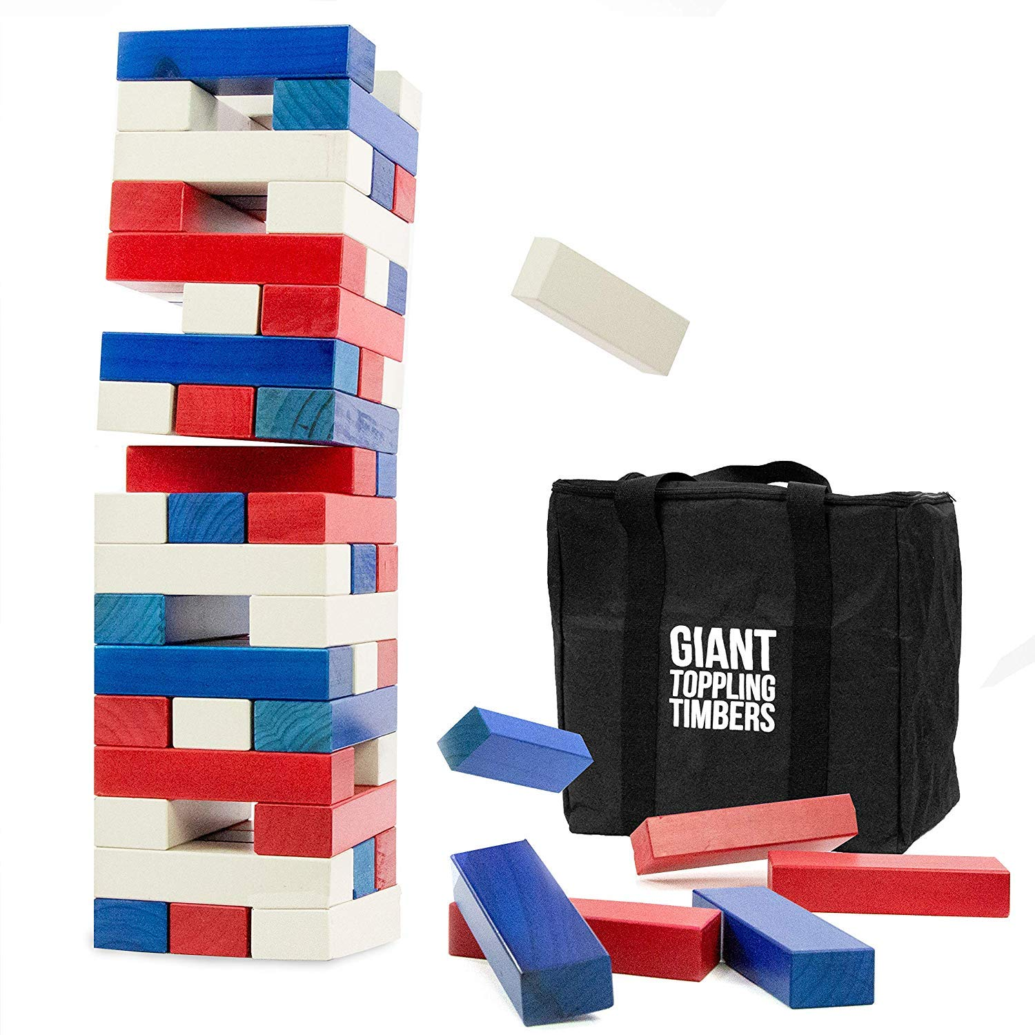Play Platoon Giant Toppling Timbers - Large Colorful Tumbling Wood Tower Outdoor Game with Carrying Case